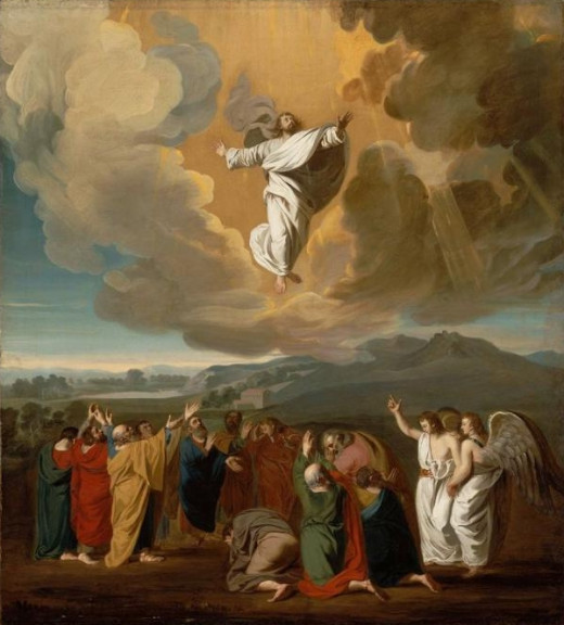 Jesus Ascending from a crucial story in Christian literature.