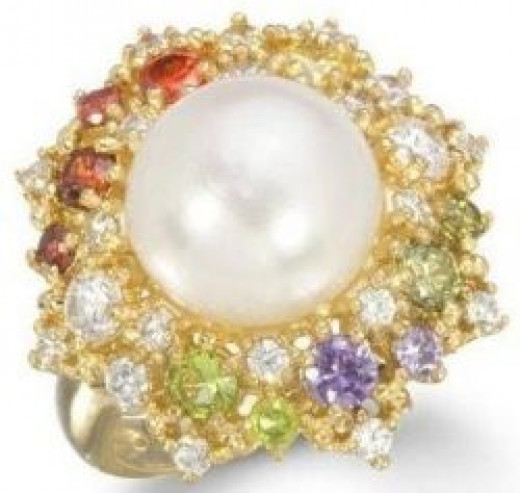 FRESHWATER PEARL RING WITH MULTI COLOR STONE IN GP