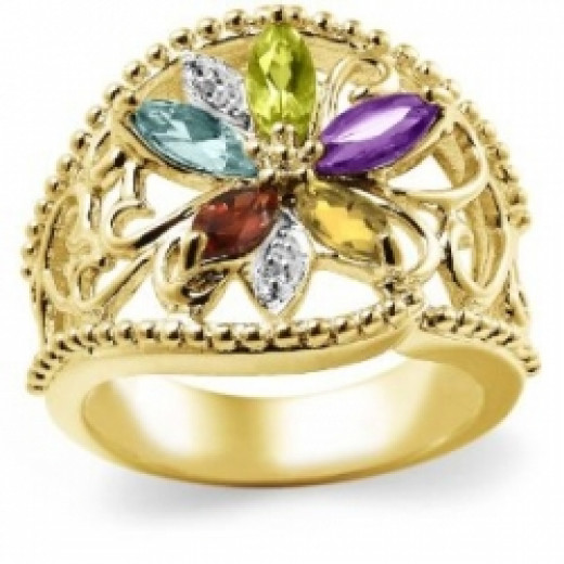 18k Gold Plated Sterling Silver Multi-Gemstone Floral Ring, Size 5