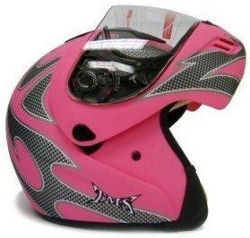Matte Flat Pink Flip Up Full Face Modular Motorcycle Street Sport Bike Helmet