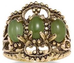 PalmBeach Jewelry 14k Gold-Plated Antiqued Filigree Jade Ring