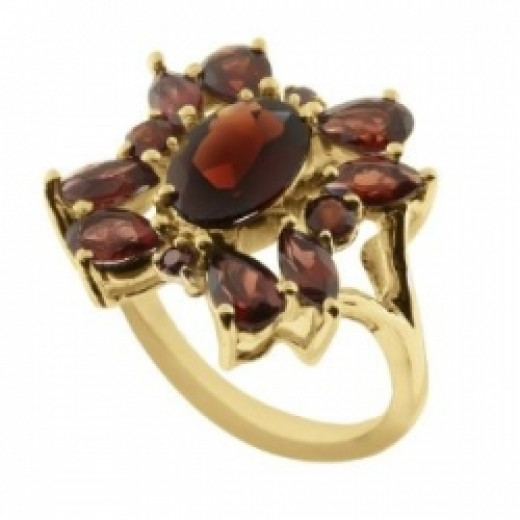 8.40 Ct Garnet Gold Plated Sterling Silver Ring