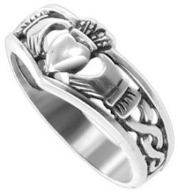 Plain Sterling Silver 4mm Band 7mm Front Claddagh Ring