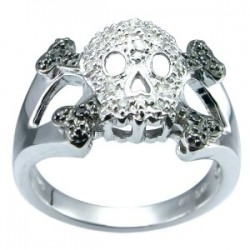 Silver Diamond Skull Ring, Size 6 (0.11 cttw, I-J Color, I2-I3 Clarity)