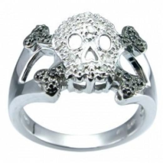 Silver Diamond Skull Ring, Size 6 (0.11 cttw, I-J Color, I2-I3 Clarity)