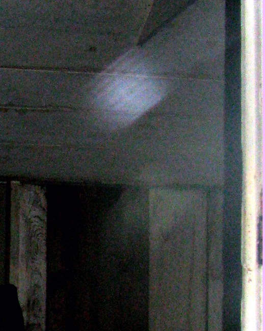 Close up of moving orb inside James Marshall Cabin