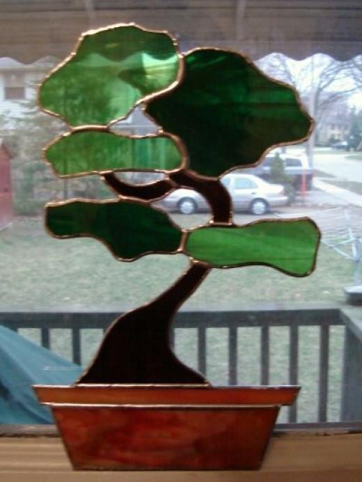 "My ""Tranquility Bonsai"" Stained Glass Suncatcher"