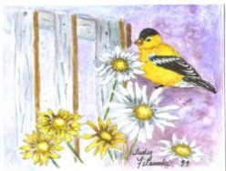 "Goldfinch Note Card. My ""rent payer."""