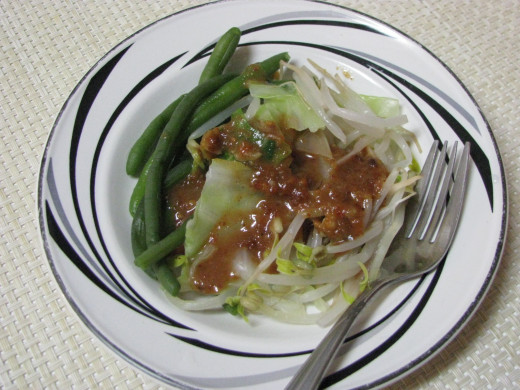 Pitjil with peanut sambal (steamed veggies with spicy peanut sauce)