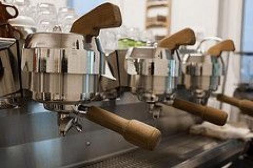 Espresso machine in coffee bar