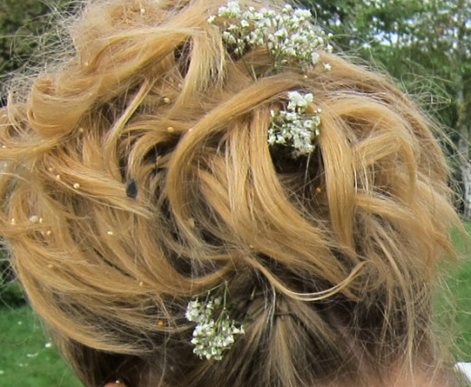 Seeds in the bridal hairdo.