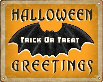 Retro Halloween Bat Sign