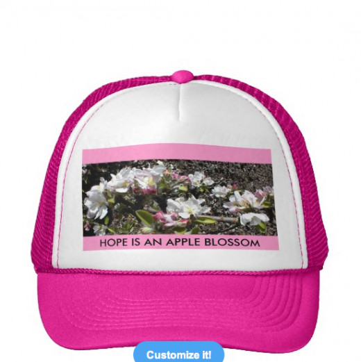 I took the photo of my apple blossoms and put it on this hat at Zazzle. Click source code If you'd like one, too.