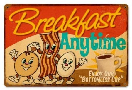 Breakfast Anytime: Retro Vintage Metal Sign