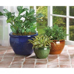 SKU 38899 Jewel-Tone Flower Pot Trio