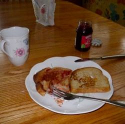 French Toast with raspberry preserves