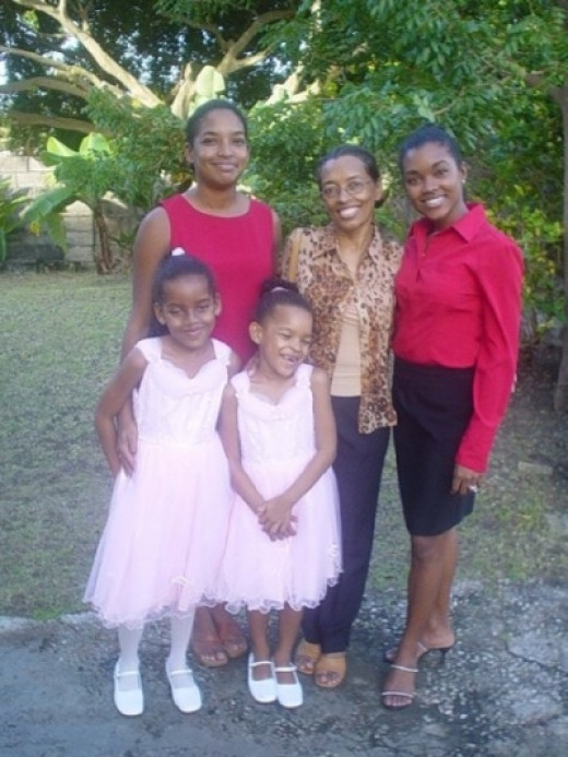 Me, my mom, my sister and my girls, one Christmas many moons ago :)