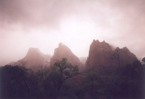 The Three Patriarchs, Zion National Park. Nasty, rainy weather limited the number of pictures I took, but gave unique photo opportunities.