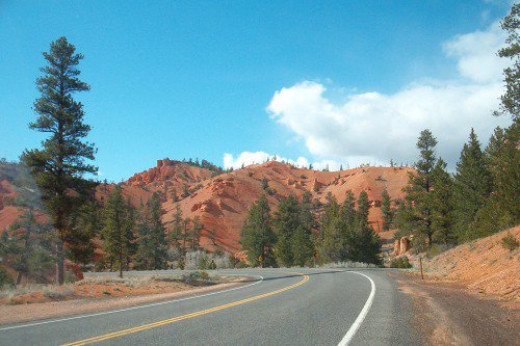 The road through Red Rock Canyon.