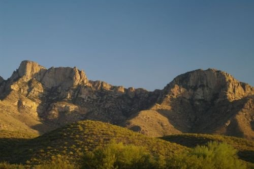 Looking at the Pusch Ridge area from Catalina State Park, late in the afternoon.