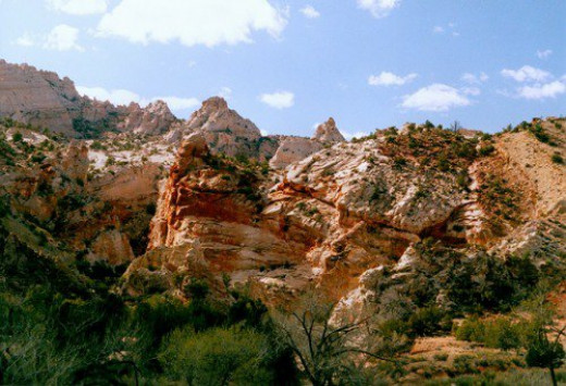 Iron-stained rocks.