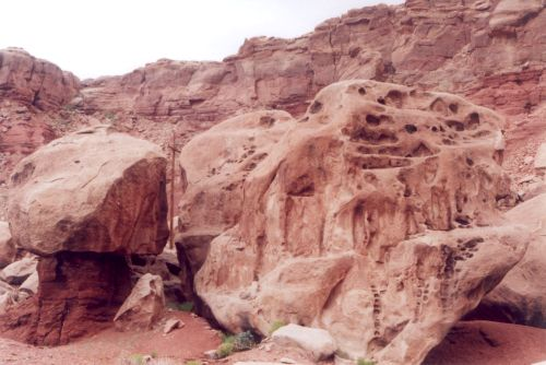 One area has some very large boulders.
