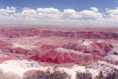 The colors of the Painted Desert vary with light and other factors. This is a color of medium intensity.