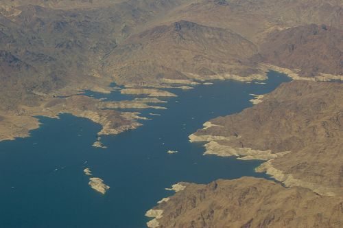 Aerial view of Lake Powell. The white line along the edge shows that the water level was low.