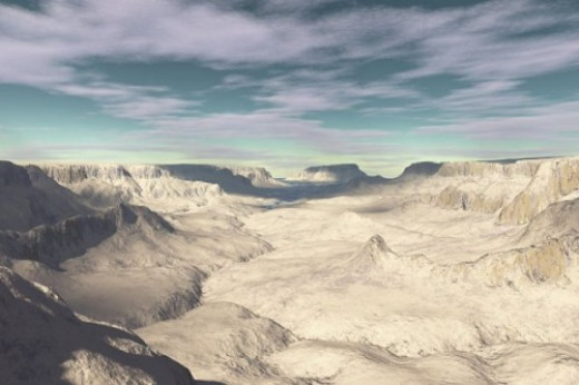 Looking into Badland Valley. Fantasy sky, unknown terrain. Grand Canyon?