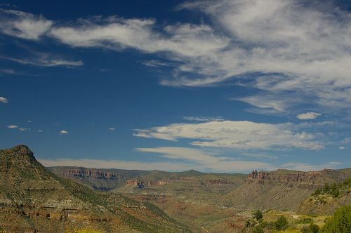 In no particular order. The clouds were nice that day, too. Most views are from a highway that drops down to a bridge, and runs along the edge of mountains, so you can see into the canyon.