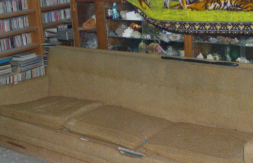 Closeup of the couch. That is mostly animal damage.