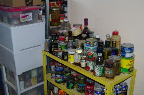 Another view of the food storage shelf.