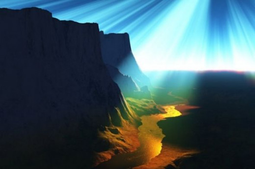 River of Life - Laser effect. This is Big Bend, Utah terrain.