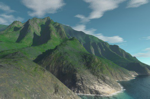 Terrain from Haena. Realism