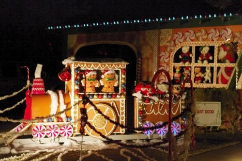 This home had displays all across the front yard. They won Best Door.