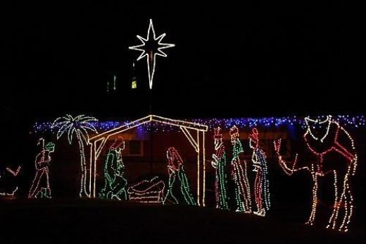 Nativity scene in lights.