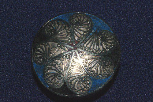 Silver box with blue cloisonne inlay