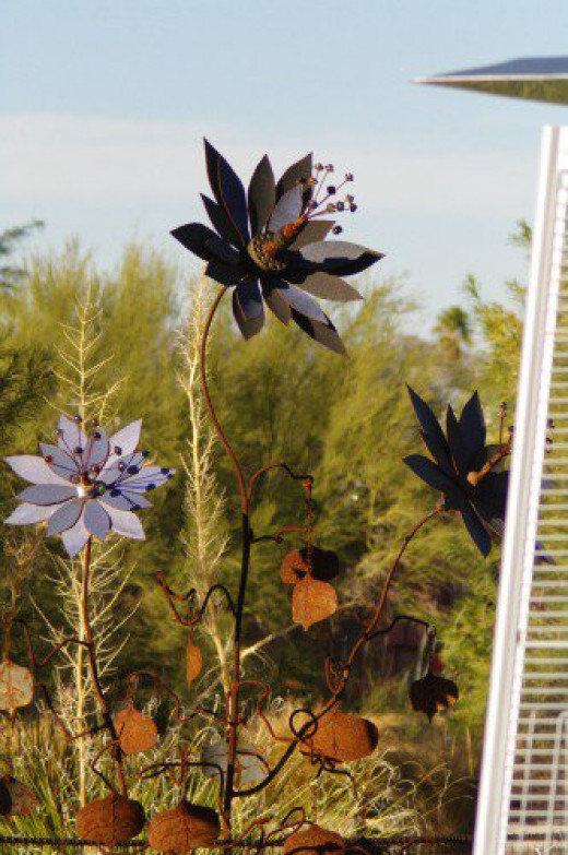Love these sculptural flowers. The structure on the right provides heat for chilly nights.