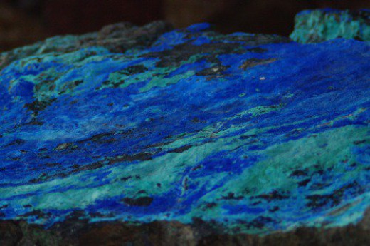 One of a number of good mineral specimens. Azurite and Malachite from Morenci, Arizona.