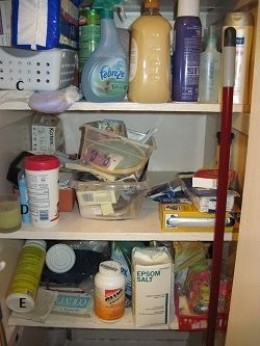My messy bathroom closet | Photo property of author All Rights Reserved