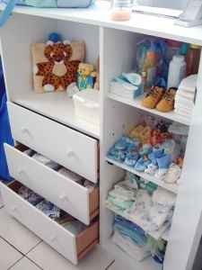 Move the dresser to the closet to save space in the nursery.