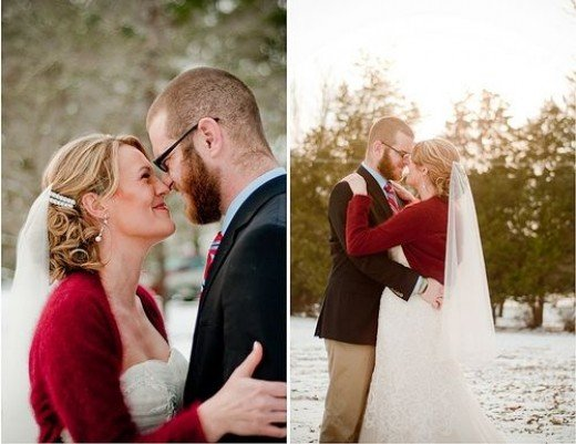Bride wearing a dressy cardigan over her wedding gown in the snow.