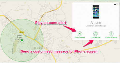 Play sound oir send a lost phone message to the stolen iPhone