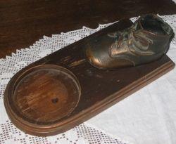 Bronzed Baby Shoe Mounted on Wood