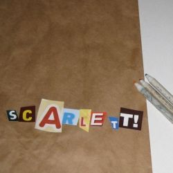 Let kids spell their name with junk mail letters. Scarlett needed my help with this, but we got 'er done.