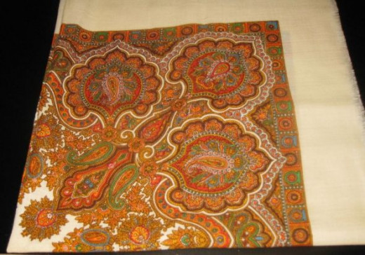 Vintage tablecloth with Indian motif.