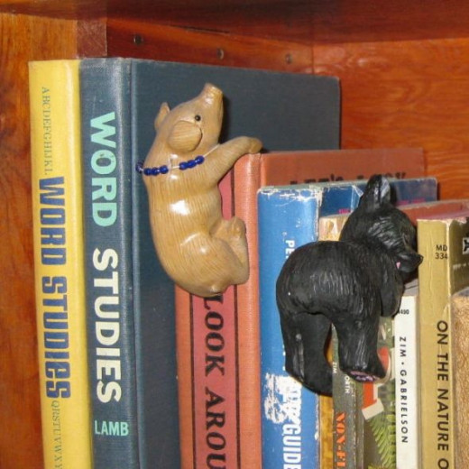 Pig book hanger with his friend bear.