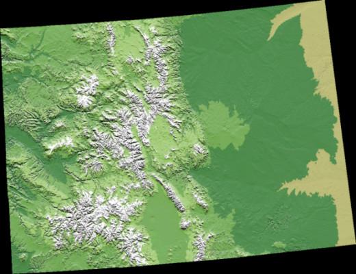 Digital elevation model map of Colorado.