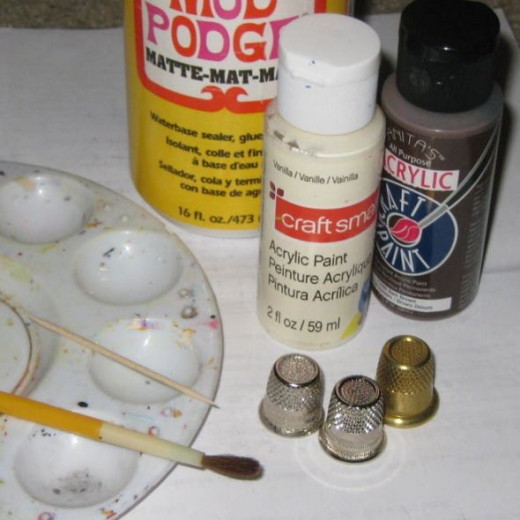 Craft supplies you'll need to make thimble ghosts.