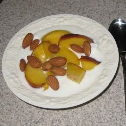 A great breakfast or snack:  yogurt, fruit, and nuts.